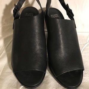Eileen Fisher Glance Vacchetta Leather Sandal Sz 9